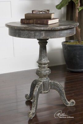 French Country Round Wood Pedestal Accent End Table
