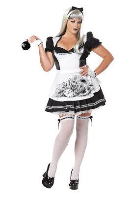Brand New Plus Size Dark Alice In Wonderland Women Adult Halloween Costume - Alice In Wonderland Dark Costume