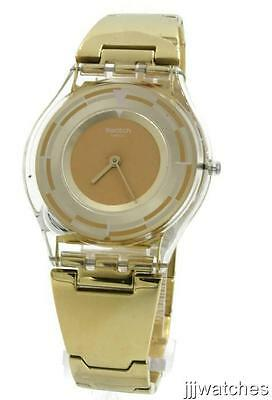 New Swiss Swatch Schupe Skin Collection Steel Gold Dress Watch 35mm SFE104G -