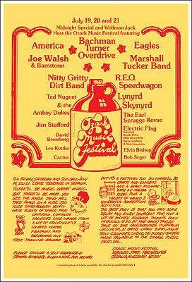 EAGLES LYNYRD SKYNYRD WALSH NUGENT 1974 Sedalia Ozark Festival Concert Poster