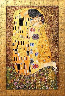 """Gustav Klimt - """"Der Kuß 2"""" Ölgemälde handgemalt 87cm x 67cm"""