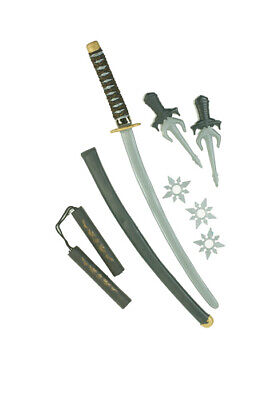 Brand New Plastic Japanese Ninja Weapon Warrior Set Costume Accessory - Make Ninja Weapons