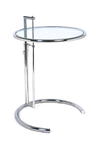 GT-08 Eileen Gray Grey height adjustable glass end/side table