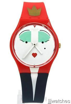 New Swiss Swatch Wonderqueen Blue Red Silicone Women Watch 34mm GR165