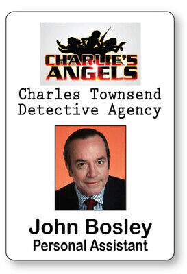 Charlies Angels Halloween Costume (JOHN BOSLEY CHARLIE'S ANGELS NAME BADGE TAG HALLOWEEN COSPLAY PIN)
