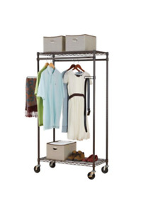 Durable, double-sided garment rack with storage