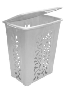 Clothes Hamper, white, with lid, plastic material,