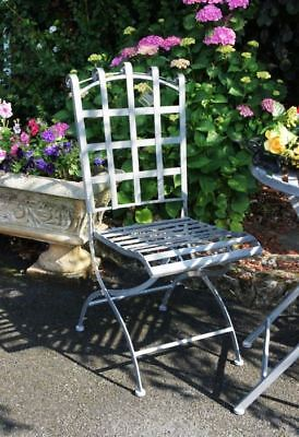 Antique Grey Medieval Style Scroll Top Folding Garden Chair