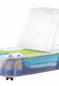 Under the bed storage tote 66 L w/ wheels x3!