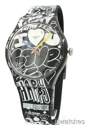 New Swiss Swatch Originals LOVE WALL Prints Silicone Watch 42mm SUOB125 $70