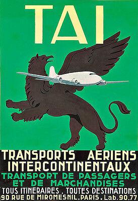 Art Ad TAI Transports Aeriens Intercontinentaux Planes  Deco Poster Print