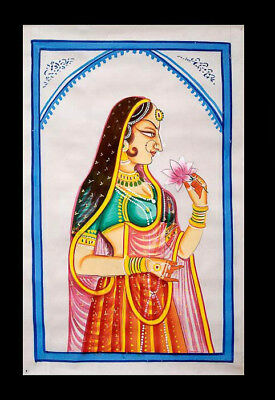 Hanging Wall Silk Painting Portrait Woman Art Mughal India 81x50cm A6 1173