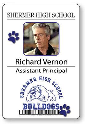 RICHARD VERNON PRINCIPAL BREAKFAST CLUB NAME BADGE HALLOWEEN COSPLAY MAGNET BACK
