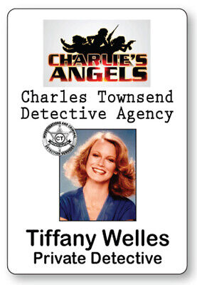 TIFFANY WELLES CHARLIE'S ANGELS NAME BADGE TAG HALLOWEEN COSPLAY PIN BACK - Halloween Charlie's Angels