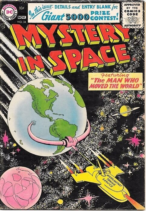 Mystery In Space Comic Book #34, DC Comics 1956 VERY GOOD+