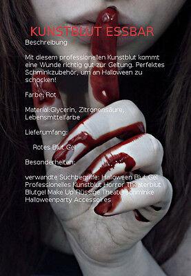 Halloween Make (Kunstblut Professionelles Essbares  Halloween Make-up  Lecker Erdbeer Blutgel)