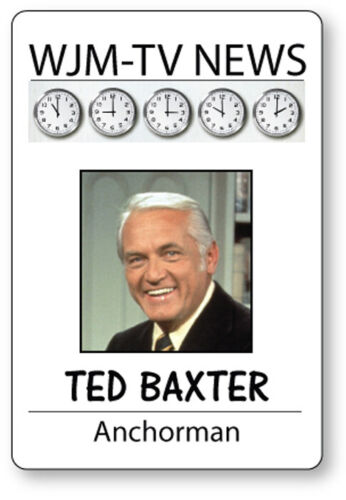 TED BAXTER MARY TYLER MOORE SHOW NAME BADGE HALLOWEEN COSPLAY MAGNET BACK