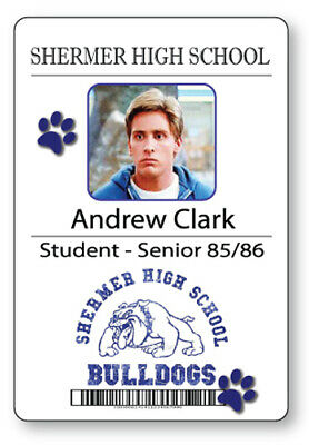 ANDREW CLARK BREAKFAST CLUB NAME BADGE & BUTTON HALLOWEEN COSPLAY PIN BACK