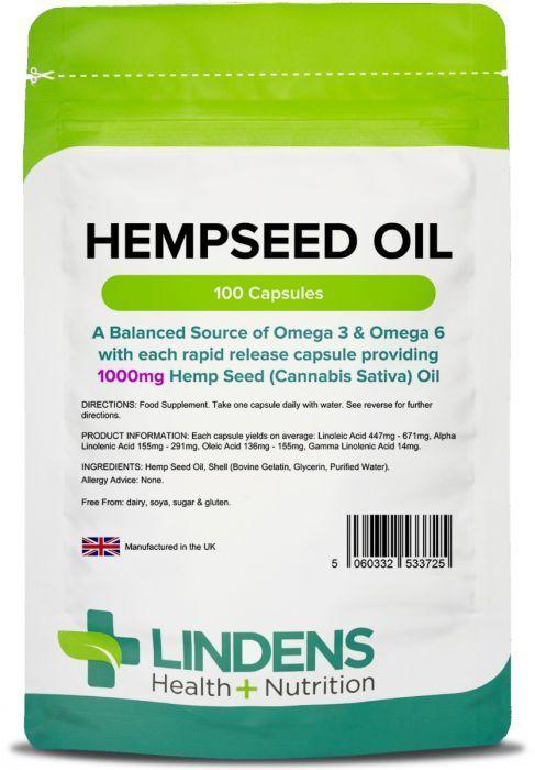 Hemp Seed Oil High Strength 1000mg 100 Capsules Hempseed Omega 3&6 Canabis