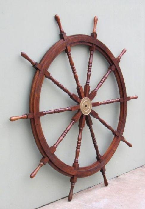 "58"" WOODEN SHIP WHEEL ~ BOAT~ PIRATE ~ NAUTICAL ~ HOME DECOR ~ TEAK WOOD WHEEL"