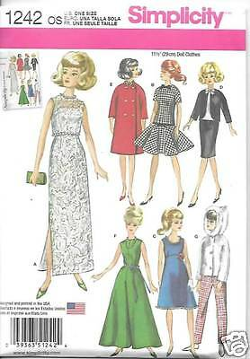 1242 FASHION DOLL 11 1/2 CLOTHES NEW SEWING PATTERN SIMPLICITY 1242
