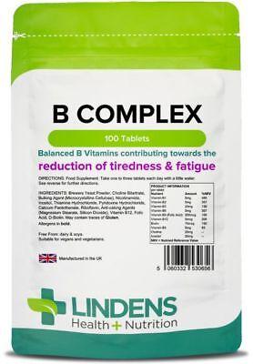 Vitamin B Complex (100 Tablets) 9 B-vitamins, high strength - UK Manufacturer