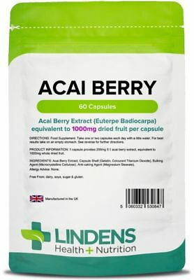Acai Berry Strength 1000mg Capsules (60 pack) [Lindens 0847]
