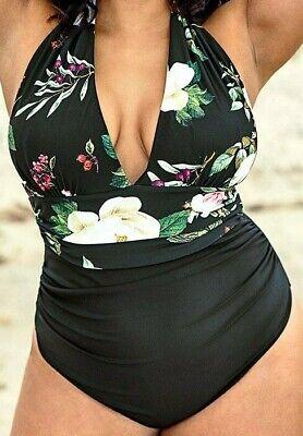 BLUMENDRUCK HALFTER GROSSE GRÖSSEN BADEANZUG gr. XXXXL 4XL Bikini Badeanzug NEU
