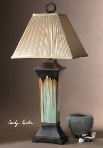WESTERN SOUTHWESTERN TURQUOISE GREEN BROWN PORCELAIN METAL OLINDA TABLE LAMP  37H