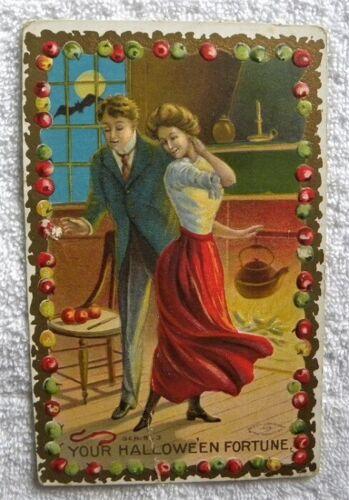 1908 Halloween Fortune, Lovers, Fireside Apples, Bat, Taggart Embossed pc