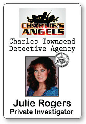 JULIE ROGERS CHARLIE'S ANGELS NAME BADGE TAG HALLOWEEN COSPLAY PIN BACK - Charlie's Angels Halloween
