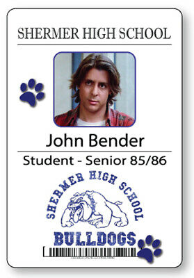 JOHN BENDER BREAKFAST CLUB NAME BADGE & BUTTON HALLOWEEN COSPLAY MAGNET BACK