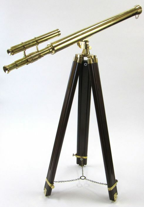GTIFFITH BRASS TELESCOPE ON TRIPOD - TELESCOPE ON WOODEN TRIPOD - NAUTICAL