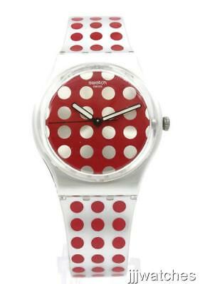 New Swatch Red Flush Polka Dot Gray-Red Silicone Watch GE240 34mm $65