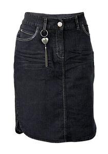 Ladies-MS-Mode-Plus-Size-Black-Stretch-Denim-Skirt-Sizes-UK-14-18-20-22-24