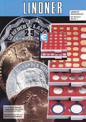 % Lindner Münzbox 2705 Rauchglas für 42 Münzen 29,5 mm Durchmesser (5 DM Münzen)