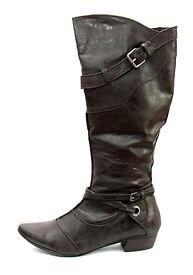 Ladies calf length boots, Zip fastening, ½ inch heels, Black, new & boxed