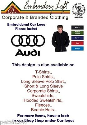 AUDI LOGO EMBROIDERED FLEECE JACKET.. 5 COLOURS IN 10 SIZES