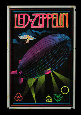 "Vintage Led Zeppelin Black Light Poster Replica 13 x 19"" Photo Print"