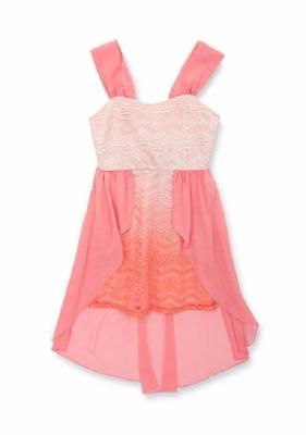 RARE EDITIONS TWEEN DIVA Girls' 7-16 Coral Lace Chiffon Ombre Dress NWT $78 - Girls Christmas Dresses 7-16
