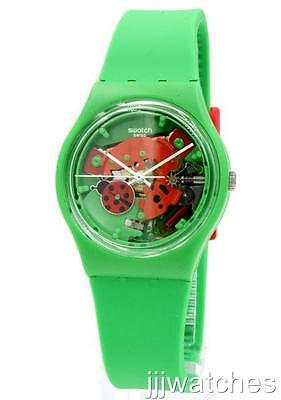 New Swiss Swatch Choupette Green Silicone Skeleton Dial Watch 34mm GG220 $65