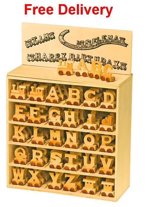 Personalised wooden name train : Use wooden train letters to spell designed name