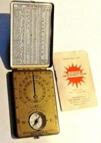 1922 Ansonia POCKET SUN-WATCH Sundial Compass Instruction Booklet GIRL Boy SCOUT