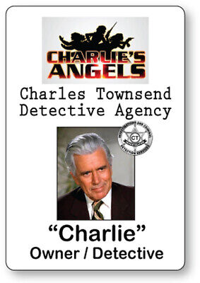 CHARLES TOWNSEND CHARLIE'S ANGELS NAME BADGE TAG HALLOWEEN COSPLAY MAGNET BACK - Charlie's Angels Halloween