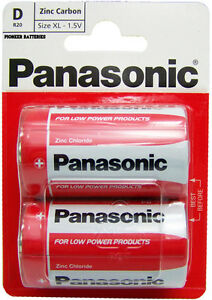 Panasonic D Battery Batteries New Zinc Carbon R20 1.5V Exp +2Years