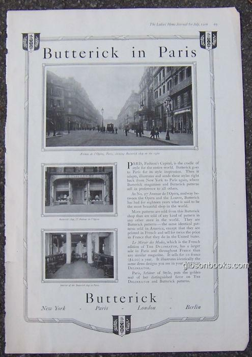 Butterick Patterns in Paris Fashions 1916 Ladies Home Journal Advertisement