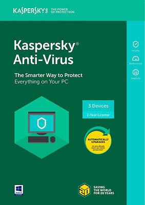 Kaspersky Anti Virus 2018 I 3 Device I 1 Year I Product Key Card