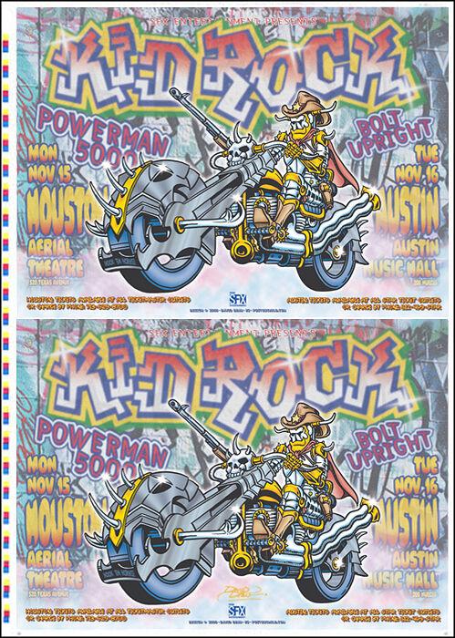 KID ROCK 1999 Original Houston & Austin Uncut Concert Poster Press-Sheet