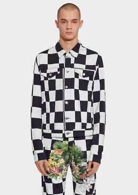 New Versus Versace Denim Checkerboard  Jacket Size 48 IT 38 US