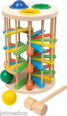 Klopfkugelturm groß mit bunten Holzkugeln und Hammer ab 2 Jahre Höhe: ca. 26 cm